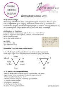Maanedens Numerologiske datoer April 2021 pdf